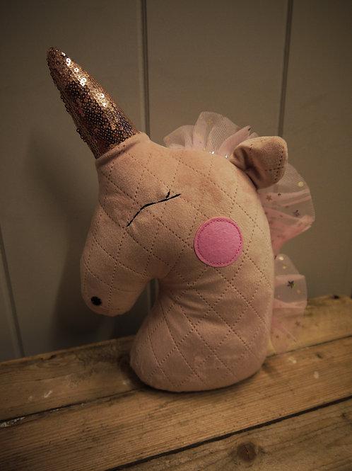 Pink Velvet Unicorn Doorstop