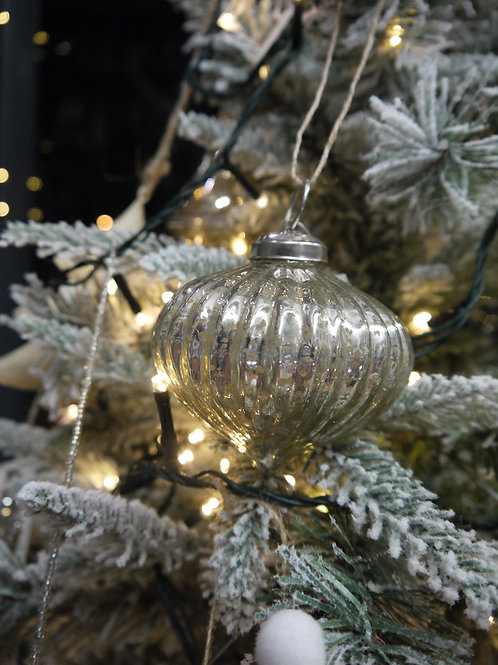 Silver Ribbed Onion Glass Bauble