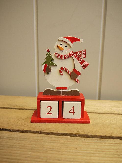 Jolly Snowman Wooden Advent Calendar
