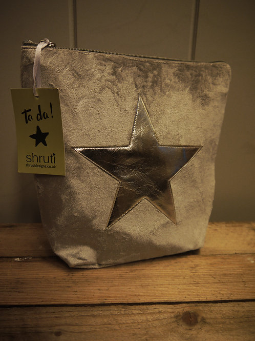 Velvet Silver Star Wash Bag