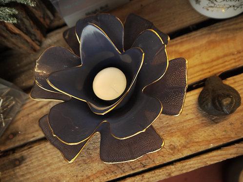 Blue & Gold Flower Tealight Holder