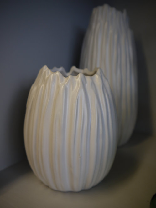White Textured Ceramic Vase - Small