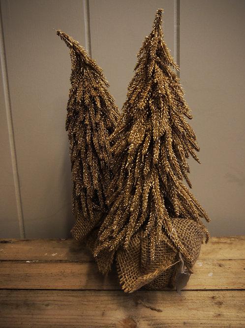 Alpine Gold Glitter & Hessian Christmas Tree