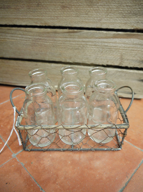 Rustic Wire Tray Mini Glass Bottles