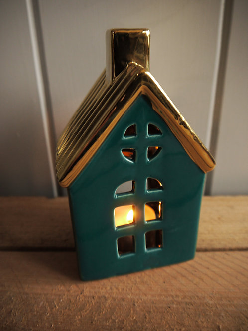 Deep Green & Gold Tealight Ceramic House