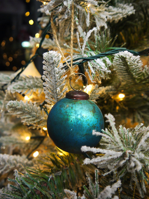 Rustic Teal Round Glass Bauble