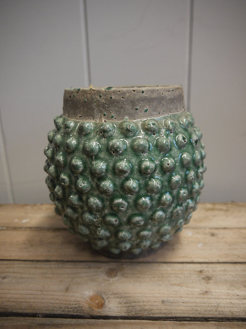 Textured Crackle Ceramic Laurel Blue/Green Pot