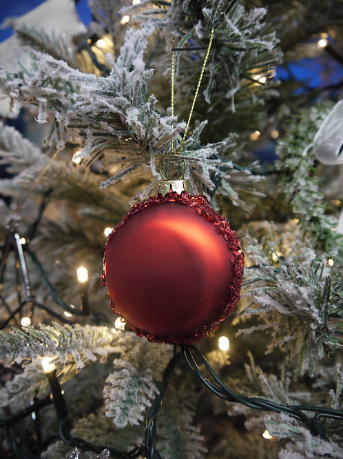 Red Glass Macaron Bauble