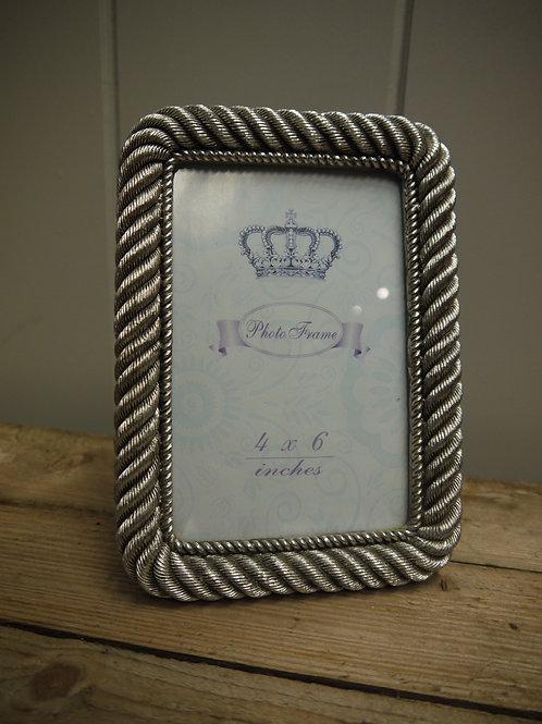 Antique Silver Metal Rope Design Frame