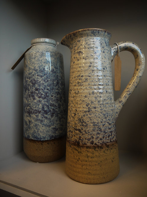 Tall Ceramic Blue Mottled Jug