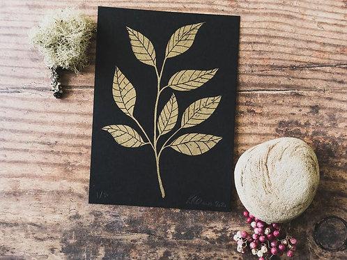 Lou Davis - Leaves gold screen print