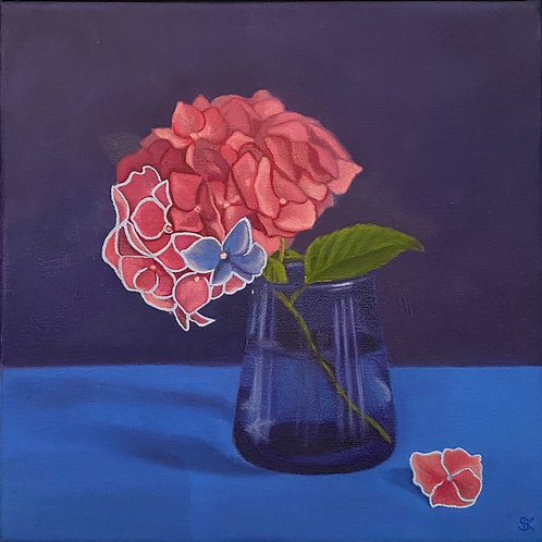 Suzanne Kemplay - Original oil painting 'Pink Hydrangea on Blue'