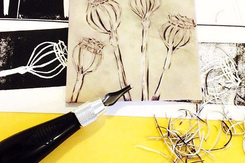 Introduction to lino-printing onto paper: 4 April 2020 10am-4pm