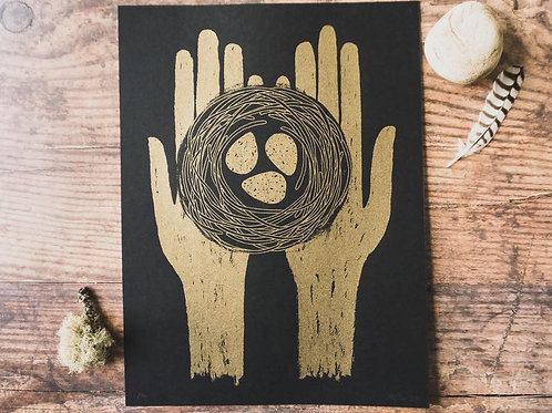 Lou Davis - limited edition screen print 'Kevin of Glendalough' Gold