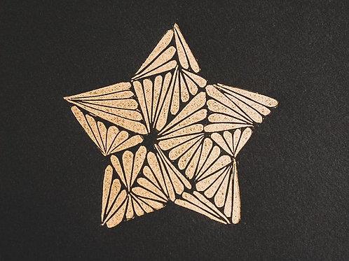 Lou Davis - limited edition lino print 'Gold Star'