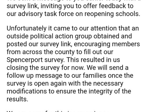 Political Action Group??  Response to Spencerport Schools