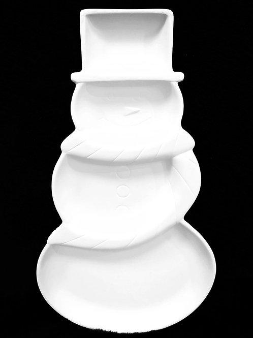 4 Section Snowman Platter
