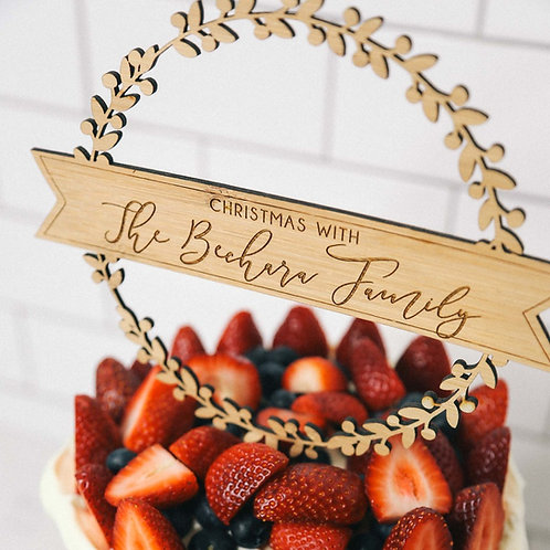 Personalised Family Wreath Cake Topper