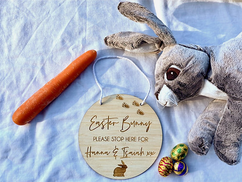 Easter Bunny Stop Here Personalised Plaque