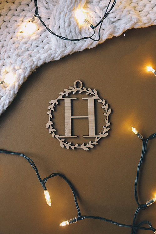 Wreath Initial Ornament