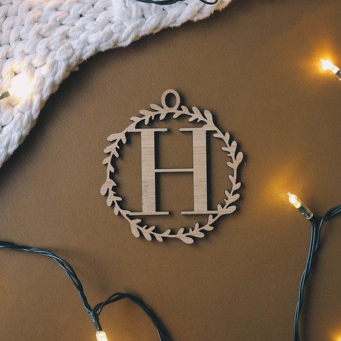 Wreath Initial Personalised Ornament
