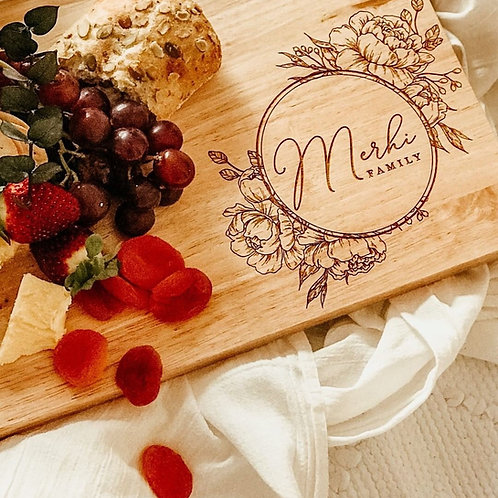 Circular Floral Personalised Serving Board