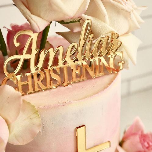 Christening Personalised Cake Topper