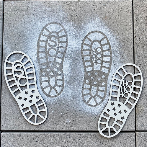 Santa Claus Footprint Stencils