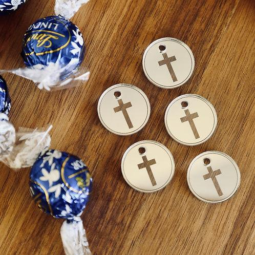 Cross Engraved Circular Tag (Set of 10)