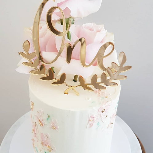 Wreathed Written Number Cake Topper