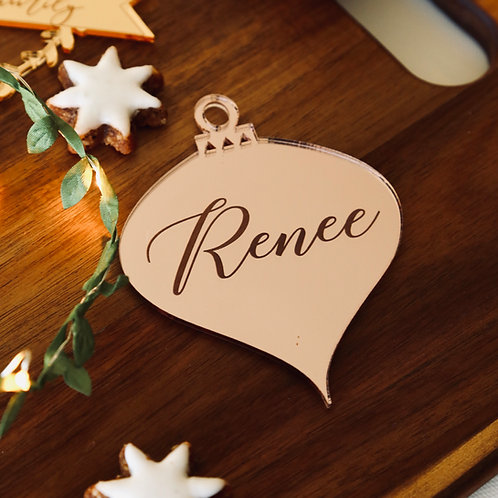 Droplet Personalised Etched Ornament
