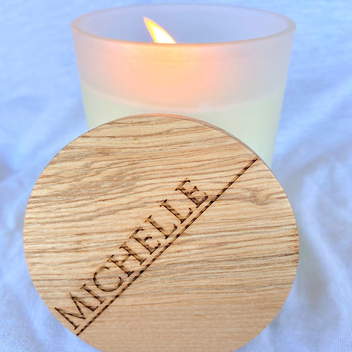 Soy Candle With Personalised Wooden Lid