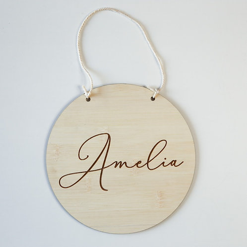 Round Name Personalised Hanging Plaque