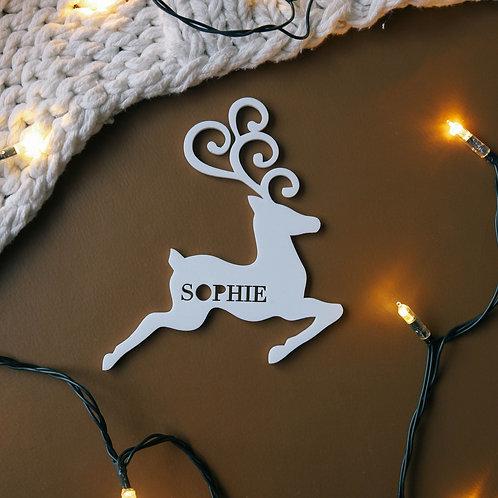 Whimsical Reindeer Personalised Ornament