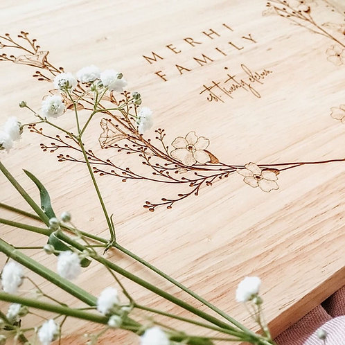 Simple Floral Personalised Serving Board
