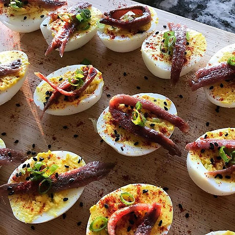 Anchovy Deviled Eggs 👹 Scary good for a