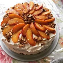 Sunburst peach cake with maple whipped c