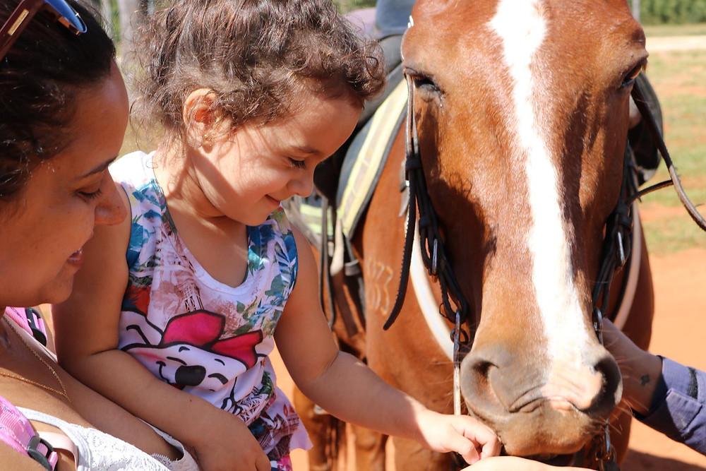 Tarsila brincando com o cavalo da PMDF