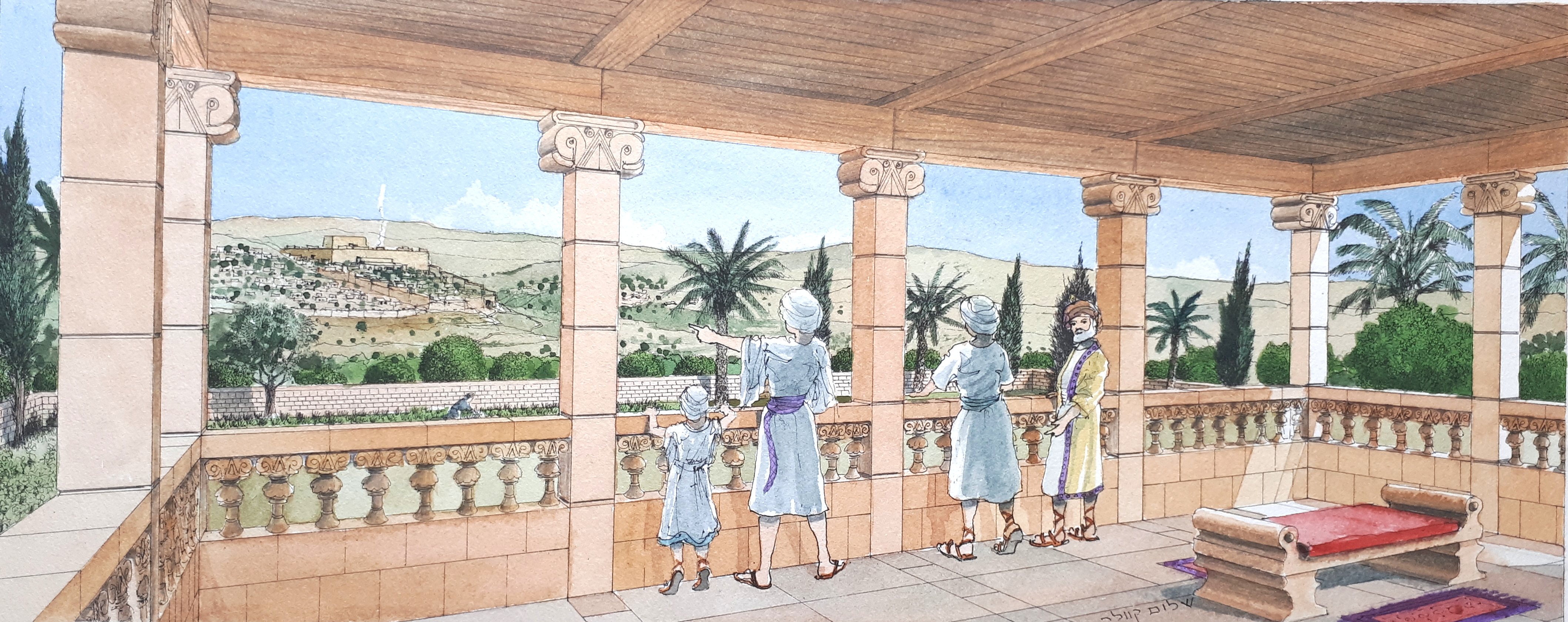 Simulation of the royal estate that stood in Armon Hanatziv. Illustration: Shalom Kveller, City of D