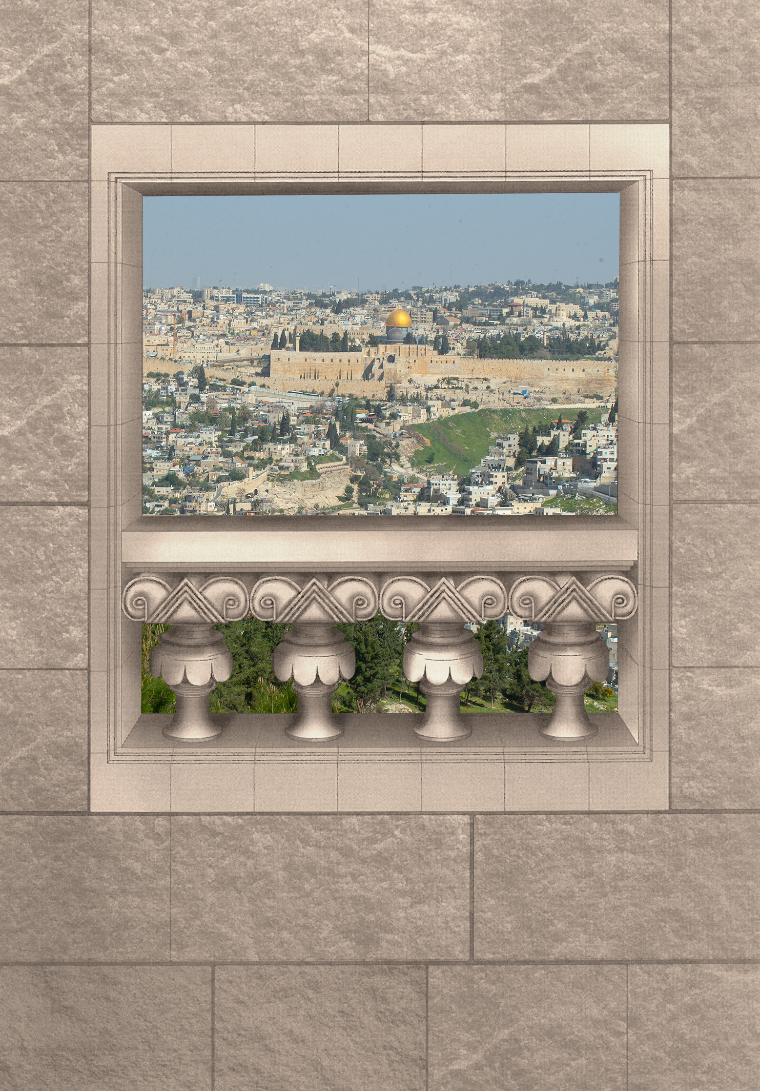 Simulation of the window of the royal estate. Or Rose, Israel Antiquities Authority