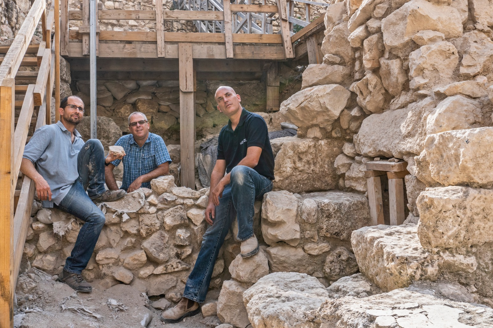 Left to Right-Yoav Vaknin Prof. Gadot Dr. Shalev. Photographer Shai Halevi Israel Antiquities Author