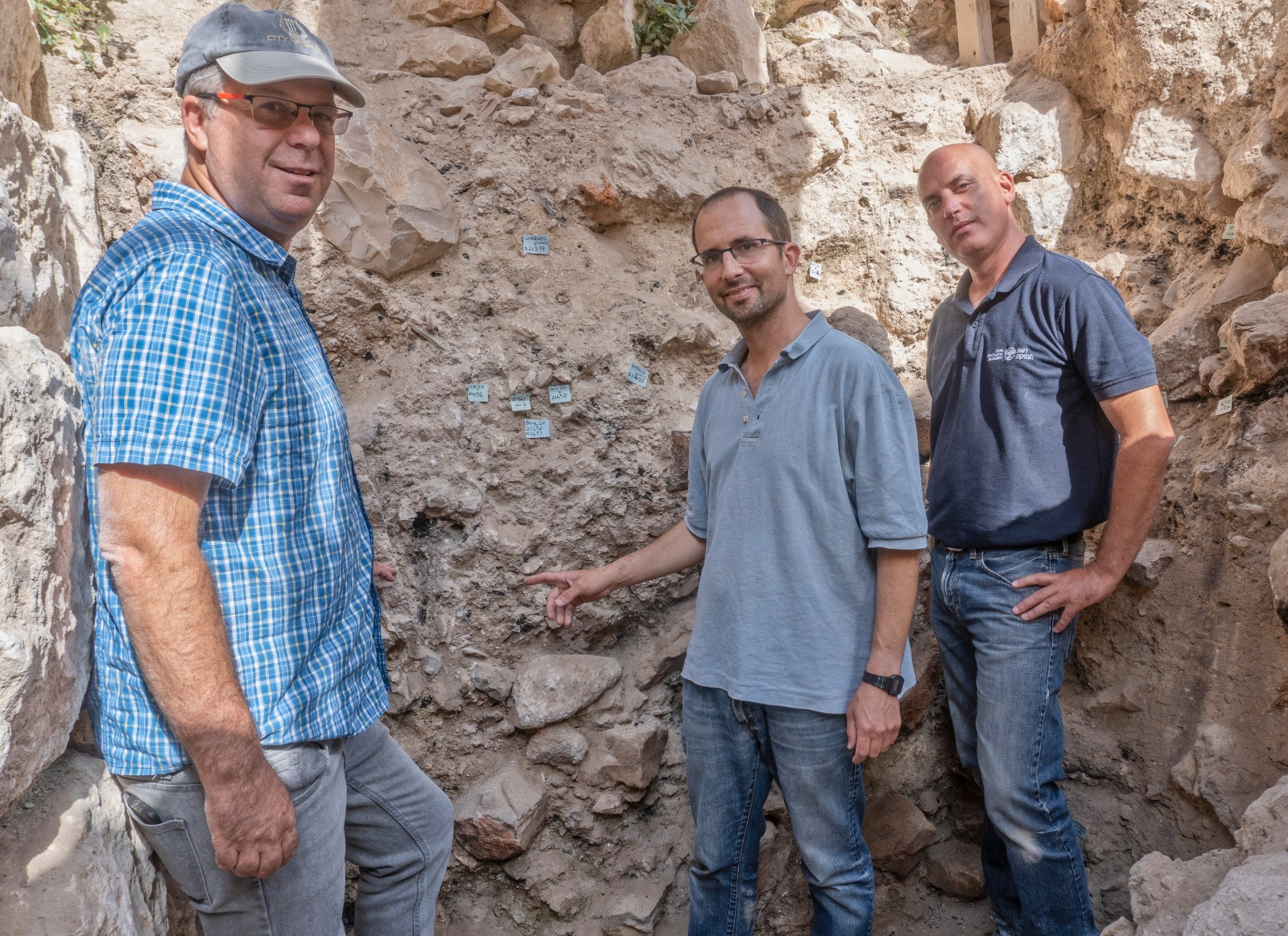 Left to Right-Prof. Gadot Yoav Vaknin Dr. Shalev. Photographer Shai Halevi Israel Antiquities Author