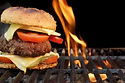 Homemade Bbq Beef Burger On The Hot Flam