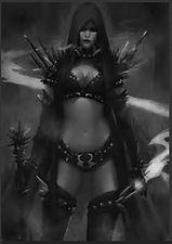 female warrior with fantasy swords