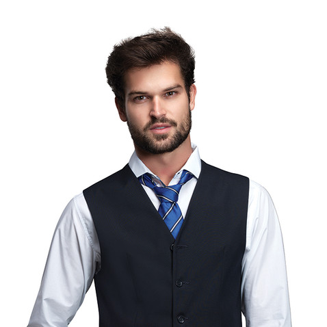 Chaleco y pantalón marino corbata azul