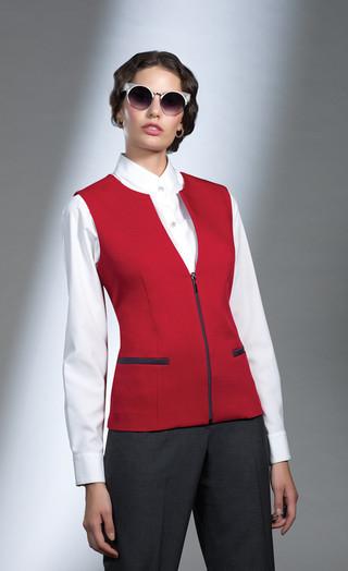 Chaleco rojo y pantalón dama