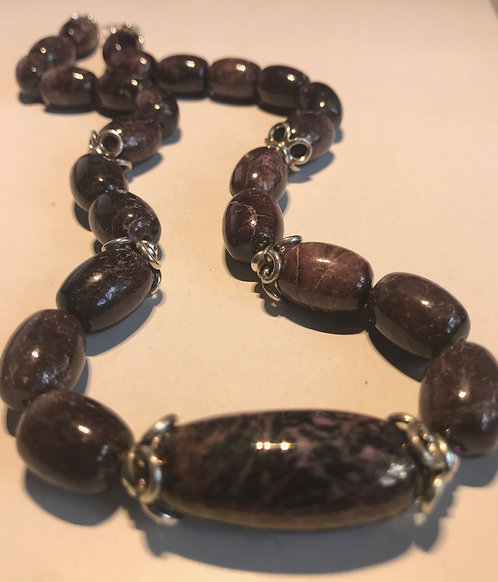 Deep Purple Beads with Artisan Lampwork Glass Focal