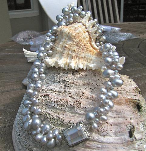 Silver Pearl Torsade Necklace
