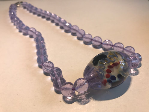 Lilac Glass Beaded Necklace with Artisan Focal