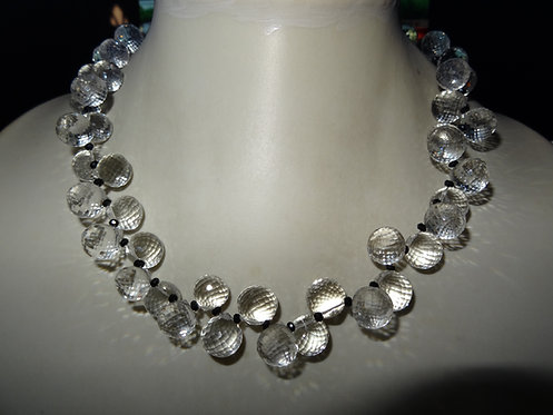 Rock Crystal Necklace with Spinel Gems